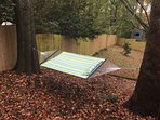 Comfy hammock in backyard