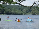 Take advantage of the free kayaks, canoes, paddle boards, and pedal boats rentals at the beach!