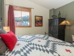Lots of room, vaulted ceilings and slope views in the bedroom