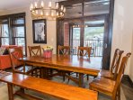 Dining area seats eight comfortably