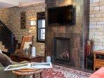 Urban furnishings, gas fireplace and flat screen TV