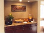Saturday morning continental breakfast located in the lobby