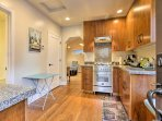 Enjoy meals at the quaint 2-person table in the kitchen.