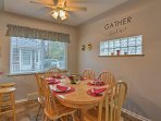 Enjoy home-cooked meals at the dining table set for 6 or at the breakfast bar with seating for 2.