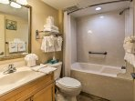 Take refreshing showers in this recently renovated bathroom!