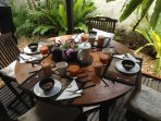 The outside dinner and breakfast table.