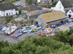 Cadgwith cove village on the Lizard 30 mins drive.