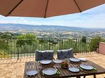 Views forever as you sip a glass of wine whilst looking out over the Umbrian Valley