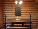 Dining Area with rustic table.  Seats 8