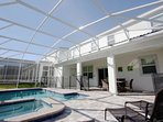 Over Size Lanai w/Private Pool & Spa, Patio Furniture and Safety Fence
