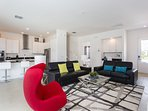 This home offers an open concept kitchen and living room