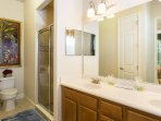 This master ensuite has a walk in shower and lots of counter space