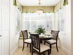 The breakfast nook is the perfect place to enjoy your morning coffee