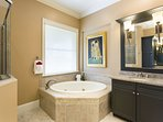 Master Bathroom with Walk in Shower and Garden Tub