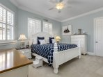 Spacious top of the line King Bedroom furniture complete with  White interior  window Shutters