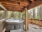 Another view of the hot tub overlooking the lake