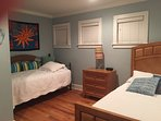 Queen bedroom with twin trundle.