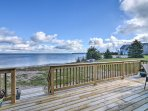 The spacious deck offers unbeatable lakefront views.