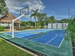A basketball court, soccer field, and tennis court are all provided onsite.