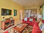 Gather on the plush sofas and turn on the flat-screen cable TV for a movie night.