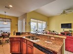 Cozy up to the kitchen island and eat a hearty breakfast to fuel your daily adventures.