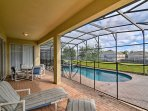 Lounge around in your screened lanai and enjoy the serene surroundings and privacy of your backyard!