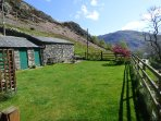Cottage garden with views across Ullswater to Place Fell