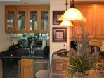 Separate wet bar, ice maker and wine chiller