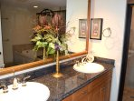 Master bath, double sink, granite tops