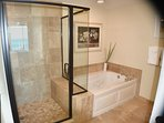 Ceramic tiled, stall shower with seat