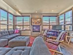 Level 2 - Living Room with Comfortable Contemporary Furnishings, Gas Fireplace, TV, Beautiful Hardwood Floors and...