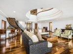 Open floor plan living room with ocean views!