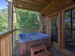During the colder months, soak in the hot tub as you relish the amazing views!