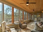 Boasting 2,300 square feet of rustic-yet-comfortable space, this cabin sleeps 9