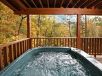 Hot Tub on Private Back Deck overlooking Beautiful Mountain Views!