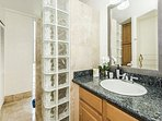 Lovely Bathroom with Shower and Extra Cabinet Space