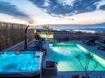 Enjoy evenings in Jacuzzi next to the pool, with views on lights of town Split