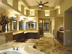 Master bath with separate shower, and soaking tub.