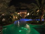 Oasis Back Courtyard at night