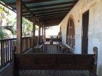 Front verandah looks to war memorial & town square