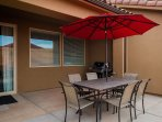 Patio with BBQ and seating for 6 or 8