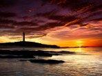 Sunset over Covesea Lighthouse