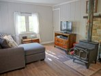Living Room with HDTV, DVD, Stereo, Wood Stove