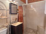 bathroom with oversized shower; plush towels/bath sheets