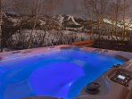 Beautiful Hot Tub with great views of the slopes, including night skiing