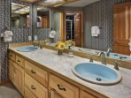 Large Split Bathroom with Dual Vanities for Bedrooms 2 and 3