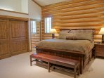 Bedroom 1 has a King bed, vaulted ceilings, and extra large closets