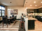 Kitchen, dining and bar side seating