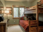 Third bedroom with twin over Queen bunk, plus twin trundle