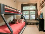 Third bedroom with twin over full bunk and pullout trundle
